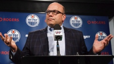 Peter Chiarelli speaks to the media in 2016