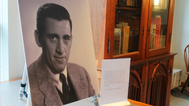 A previously unseen photo of author J.D. Salinger is displayed at the University of New Hampshire in Durham, N.H., on Tuesday, Jan. 22, 2019. (AP Photo/Holly Ramer)