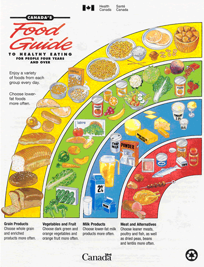 The 1997 edition of Canada's Food Guide was the last to feature muffins and orange juice as examples of healthy eating. (Health Canada)