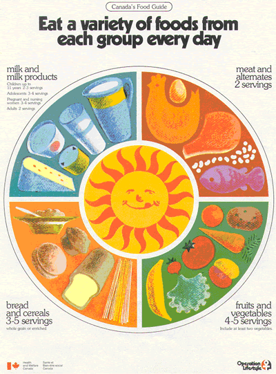 Canada's Food Rules were renamed Canada's Food Guide by 1977, and the number of food groups was cut from five to four. (Health Canada)