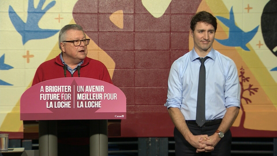 Ralph Goodale and Justin Trudeau in La Loche, Sask., on Jan. 23, 2019.