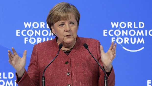 German Chancellor Angela Merkel in Davos