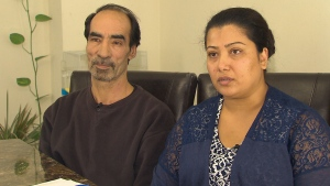 Fariha Rashidi says she gave $4,700 to a phone scammer who claimed her husband Mohammad Ebrahimi (left) would be deported if she did not.