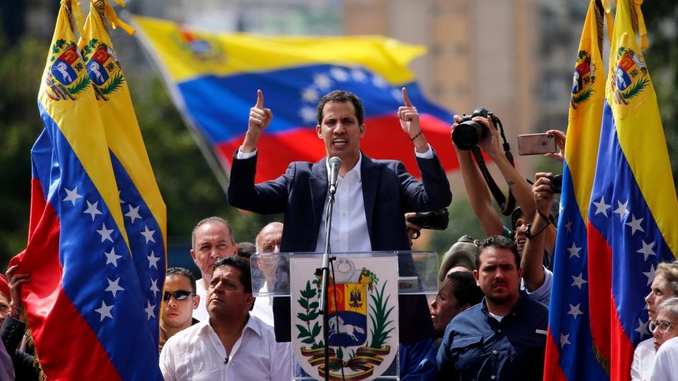 Juan Guaido declares himself interim president of the nation until elections can be held. (AP / Fernando Llano)