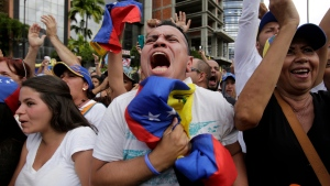 Anti-government protesters cheer as Juan Guaido, head of Venezuela's opposition-run congress, declares himself interim president of the South American country until a new election can be called, at a rally demanding the resignation of President Nicolas Maduro in Caracas, Venezuela, Wednesday, Jan. 23, 2019. (AP Photo/Boris Vergara)