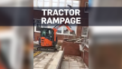 Caught on cam: Angry worker drives tractor through