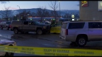 One man is in hospital after a shooting with police officers in Kelowna.