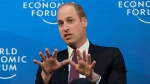 "Prince William, the Duke of Cambridge, gestures while taking part in the ""Mental Health Matters"" panel discussion at the annual meeting of the World Economic Forum in Davos, Switzerland, Wednesday, Jan. 23, 2019. (AP Photo/Markus Schreiber)"