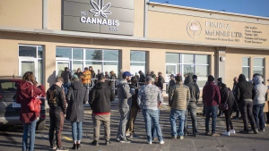 Customers line up at the retail cannabis store in Charlottetown on October 17, 2018. THE CANADIAN PRESS/Brian McInnis