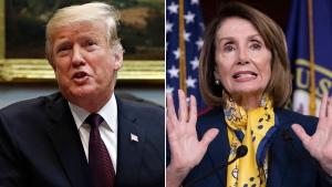 U.S. President Donald Trump and Speaker Nancy Pelosi are seen in this combination image. (The Associated Press)