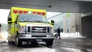 An ambulance outside Jean Lesage International Airport, in Quebec City, Thursday, Jan. 24, 2019.