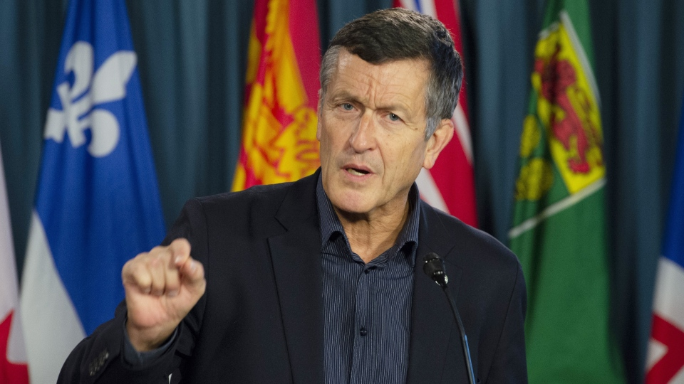 Svend Robinson, NDP candidate for Burnaby North-Seymour, speaks during a news conference on Parliament Hill in Ottawa, Thursday January 24, 2019. THE CANADIAN PRESS/Adrian Wyld