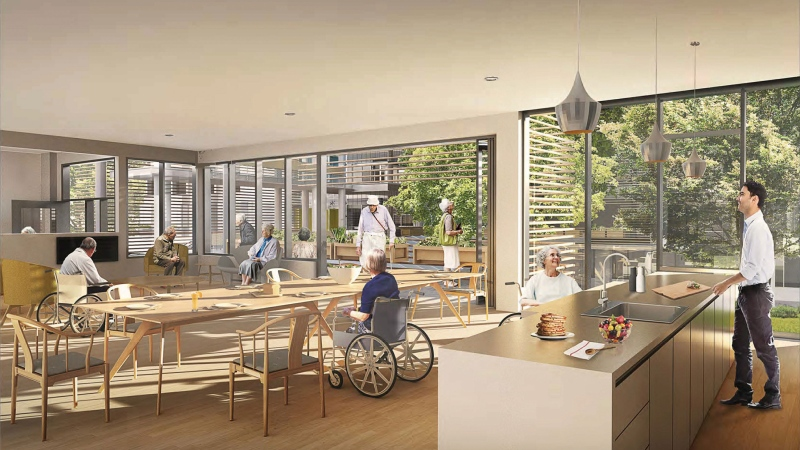 An initial rendering of the dementia village is shown: (Providence Residential and Community Care)