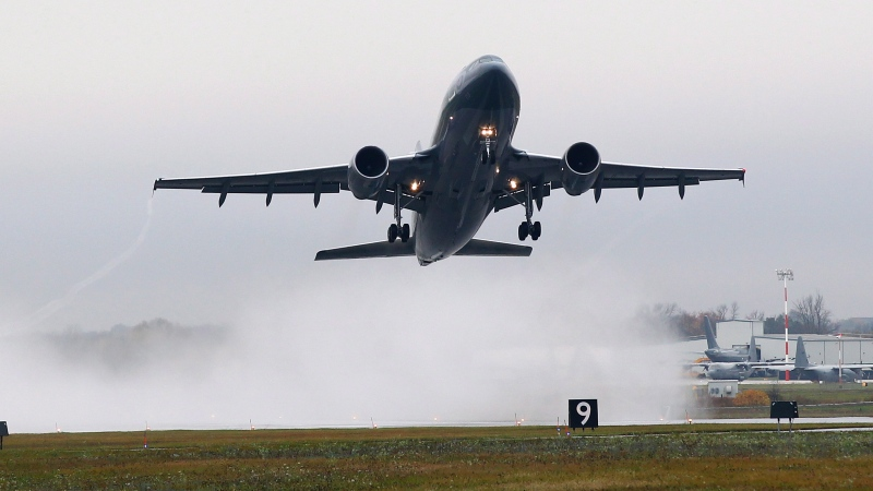 An Airbus CC-150 Polaris takes-off from CFB Trenton carrying 115 members of the Canadian forces to Kuwait, in Trenton, Ont., on Thursday, Oct. 16, 2014. (THE CANADIAN PRESS/Lars Hagberg)
