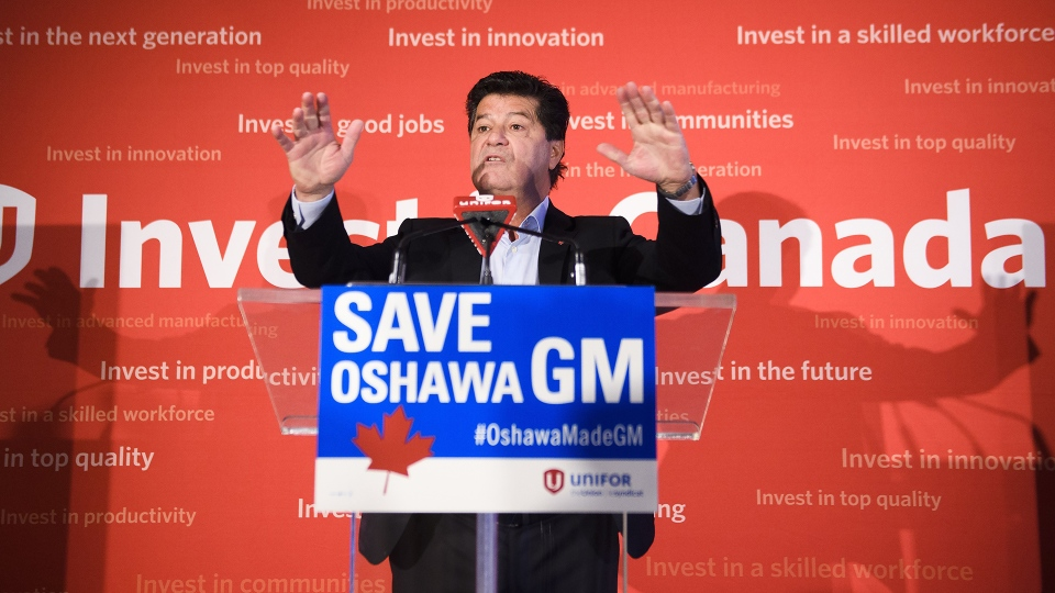 Unifor National President Jerry Dias speaks during press conference asking for all Canadians and Americans to boycott all General Motors vehicles that are made in Mexico due to the recent news about the Oshawa General Motors plant closure in Toronto on Friday, Jan. 25, 2019. THE CANADIAN PRESS/Nathan Denette