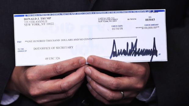 US$100,000 check from President Trump's salary