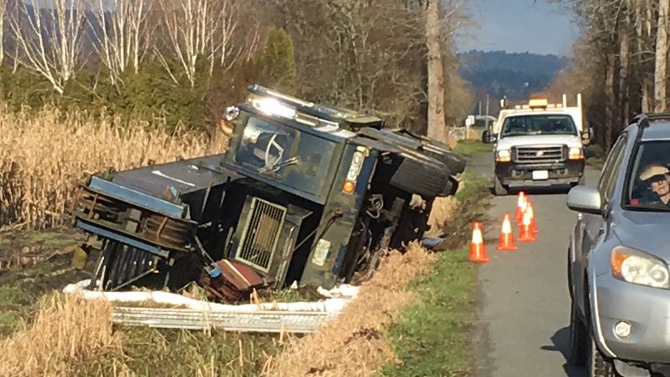 The truck slid into the ditch around 5 p.m. Thursday in the 6600-block of Lochside Drive. Jan. 25, 2019 (CTV Vancouver Island)