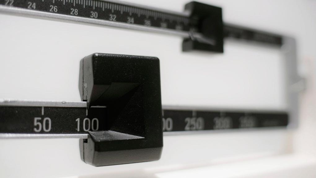 A closeup of a beam scale
