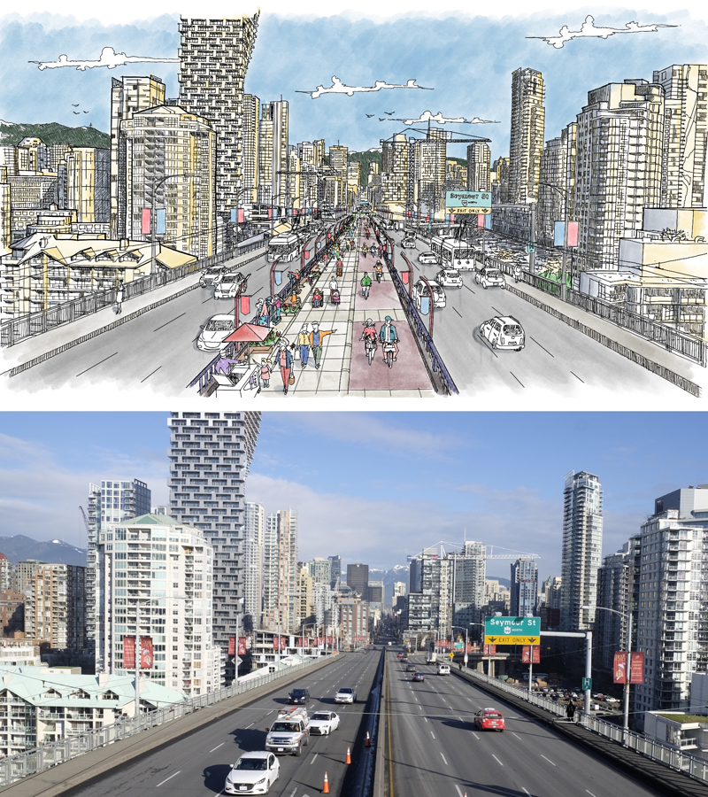 A concept sketch is compared to a recent photo of the Granville Street Bridge. (City of Vancouver images)