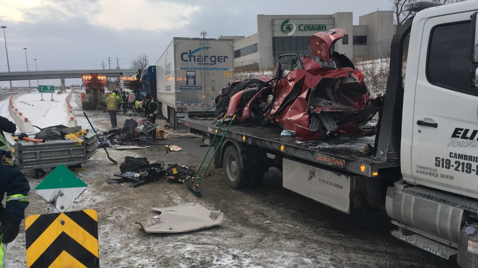 A vehicle was completely destroyed in a crash with a transport truck that killed one. (Dan Lauckner / CTV Kitchener)