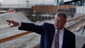 In this Dec. 17, 2018, photo, Circa co-owner Derek Stevens gives a tour of land where a planned casino-resort is scheduled to open in 2020 in Las Vegas. (AP Photo/John Locher)