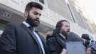 Jaskirat Singh Sidhu leaves provincial court with his lawyer Mark Brayford, right, in Melfort, Sask., on January, 8, 2019. (THE CANADIAN PRESS/Kayle Neis)