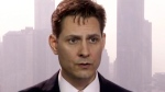 In this file image made from a video taken on March 28, 2018, Michael Kovrig, an adviser with the International Crisis Group, a Brussels-based non-governmental organization, speaks during an interview in Hong Kong. (THE CANADIAN PRESS/AP)