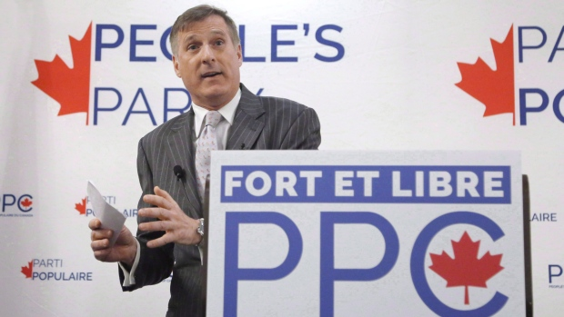 Maxime Bernier speaks at a People's Party of Canada rally in Gatineau, Que., Tuesday, Nov. 20, 2018. THE CANADIAN PRESS/ Patrick Doyle