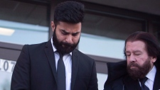 Jaskirat Singh Sidhu leaves provincial court in Melfort, Sask., Tuesday, January, 8, 2019. Sidhu, the driver of a transport truck involved in a deadly crash with the Humboldt Broncos junior hockey team's bus, has pleaded guilty to all charges against him. THE CANADIAN PRESS/Kayle Neis