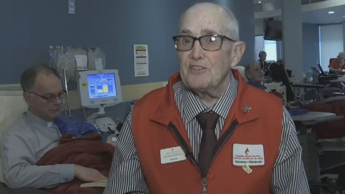 Dave Thomson is being honoured after decades of donating blood and volunteering with the Canadian Blood Services.