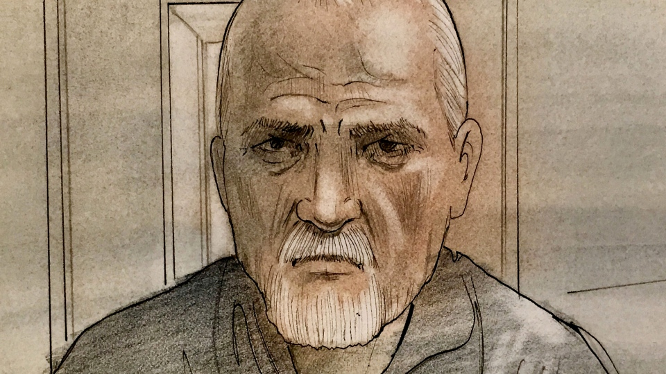 Alleged serial killer Bruce McArthur appears in court. (Sketch by John Mantha)