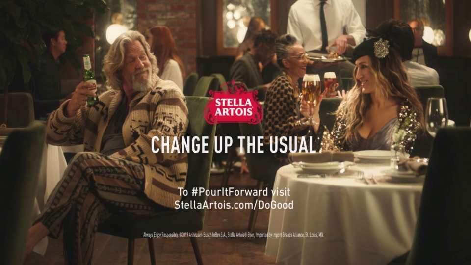 This undated image provided by Stella Artois shows a scene from the  company s Super Bowl spot with Sarah Jessica Parker 1eabedb4f