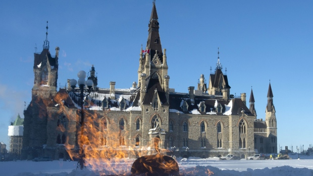 The Centennial flame burns outside West Block as Parliament resumes in Ottawa, Monday January 28, 2019. THE CANADIAN PRESS/Adrian Wyld