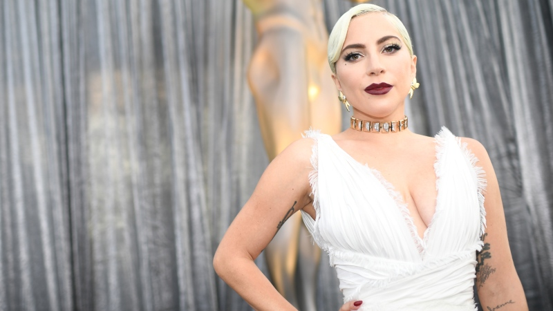 Lady Gaga on the red carpet at the 25th Annual Screen Actors Guild Awards at the Shrine Auditorium in Los Angeles on January 27, 2019. (Robyn Beck / AFP)
