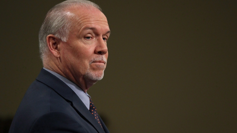 Premier John Horgan speaks during a press conference in the press theatre at Legislature in Victoria, B.C., on Tuesday May 29, 2018. THE CANADIAN PRESS/Chad Hipolito