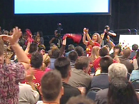 Supporters of Shawn Atleo, an assembly vice-chief from British Columbia, cheer the results of the second ballot at the Telus Convention Centre in Calgary on Wednesday, July 22, 2009.