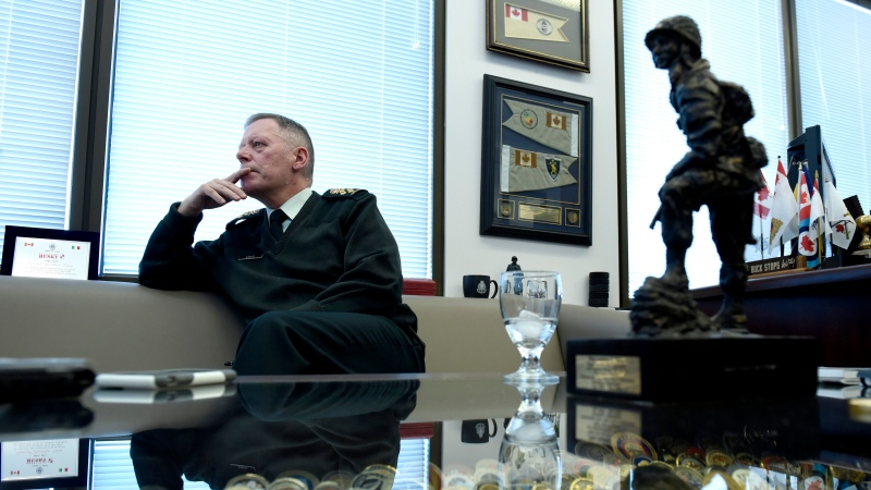 Chief of the Defence Staff Jonathan Vance participates in an interview with the Canadian Press in his office in Ottawa on Friday, Jan. 11, 2019. THE CANADIAN PRESS/Justin Tang