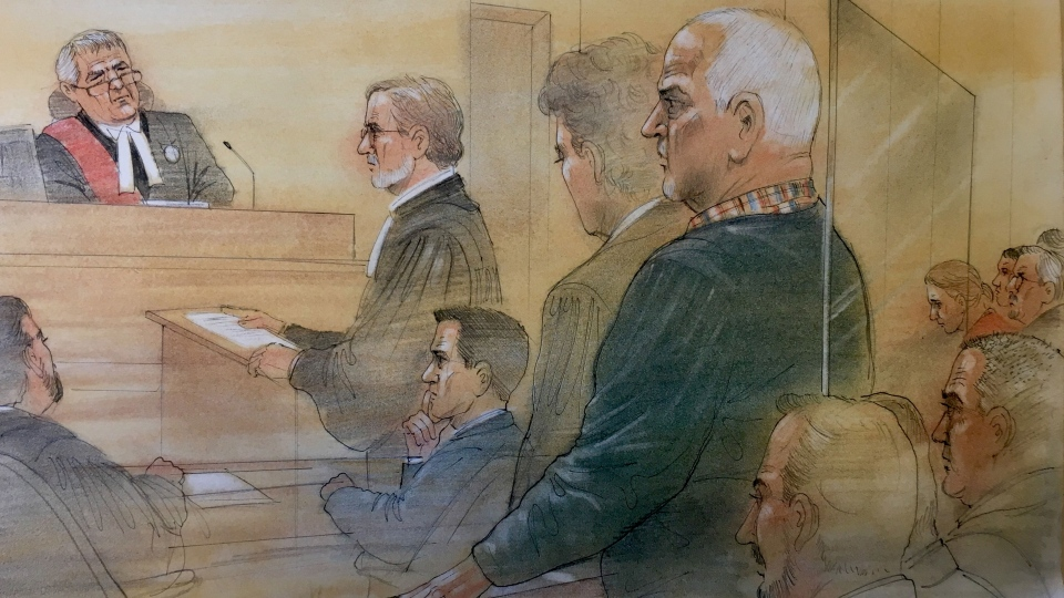 Bruce McArthur appears in a Toronto courtroom where he pleaded guilty to eight counts of first-degree murder on January 29, 2019. (Sketch by John Mantha)
