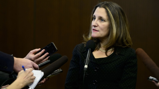 Minister of Foreign Affairs Chrystia Freeland speaks to media following a cabinet meeting on Parliament Hill in Ottawa on Tuesday, Jan. 29, 2019. (THE CANADIAN PRESS/Sean Kilpatrick)