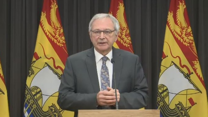 New Brunswick Premier Blaine Higgs announces his government's plan to withdraw from hosting the 2021 Francophonie Games during a news conference in Fredericton on Jan. 30, 2019.