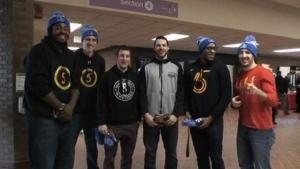 Sudbury Five basketball team visits local college