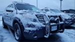 South Simcoe Police vehicles in January (Photo cred: South Simcoe Police/Twitter)