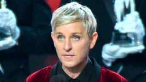 In this Jan. 18, 2017 photo, Ellen DeGeneres, winner of the awards for favorite animated movie voice, favorite daytime TV host, and favorite comedic collaboration, speaks at the People's Choice Awards in Los Angeles. (Photo by Vince Bucci/Invision/AP)