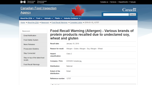 Protein product recall