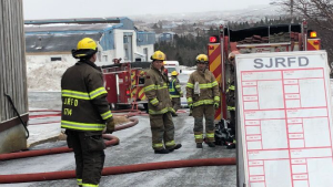 A fire destroyed at least some of the food donations at the largest food bank in Newfoundland and Labrador on Wednesday morning. (bethpenneyNL/ Twitter)