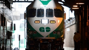 A GO Trasnit locomotive sits on the tracks at Union Station in Toronto, Tuesday, Jan. 15 2008. THE CANADIAN PRESS/Adrian Wyld