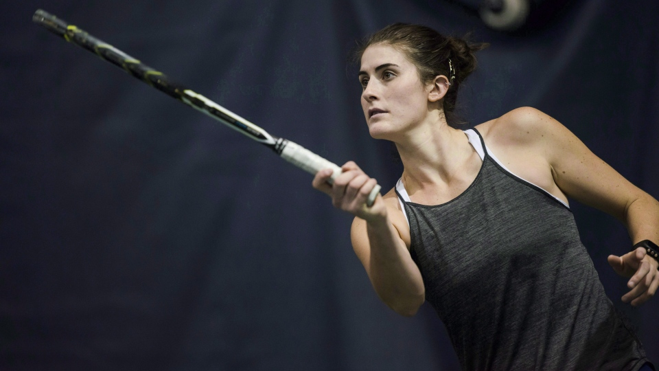Canadian tennis player Rebecca Marino is photographed during practice in Toronto on Thursday, November 2, 2017. (THE CANADIAN PRESS/Christopher Katsarov)