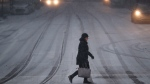 A commuter braves the wind and snow in frigid weather, Wednesday, Jan. 30, 2019 (AP Photo/John Minchillo)