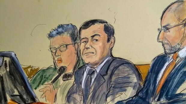 El Chapo inside courtroom