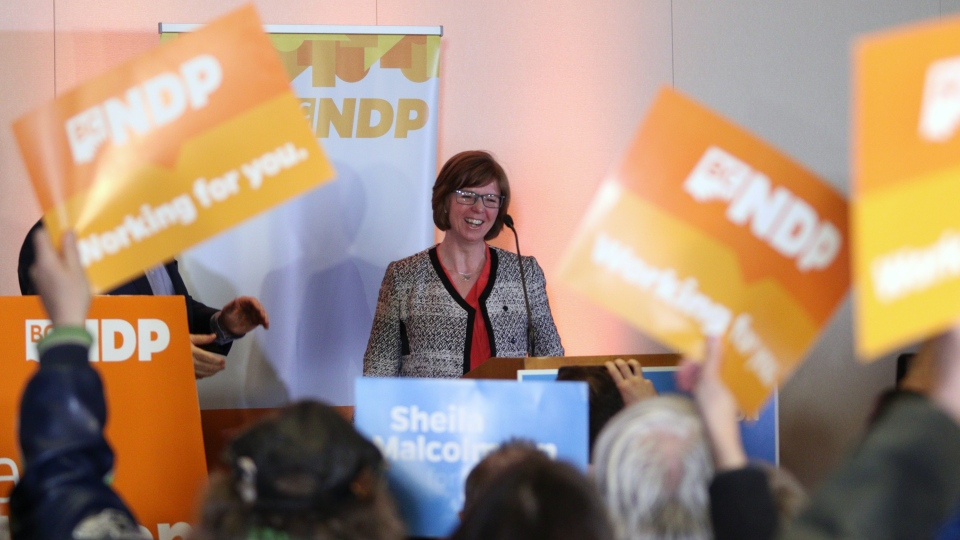 NDP candidate Shiela Malcolmson thanks supporters after winning the byelection in Nanaimo, B.C., on Wednesday, January 30, 2019. THE CANADIAN PRESS/Chad Hipolito